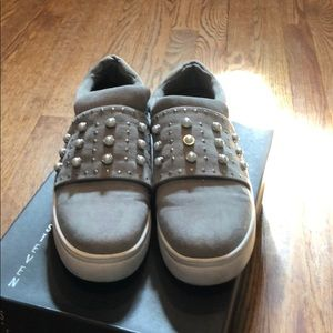 Steven gray suede and pearl slip on sneakers
